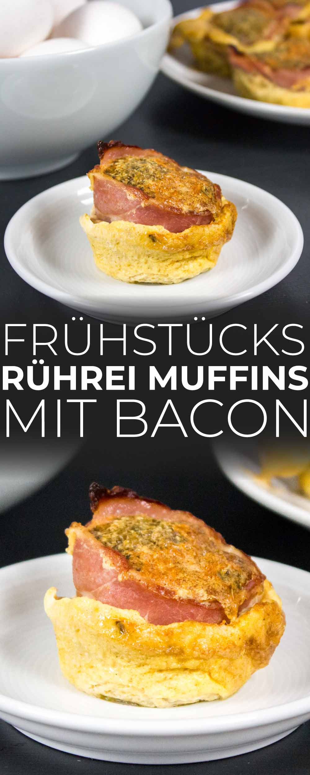 Frühstücks Rührei Muffins mit Bacon